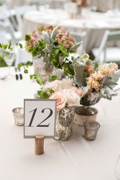 Cute table # idea...I like this if you are going with a wine bottle centerpiece.