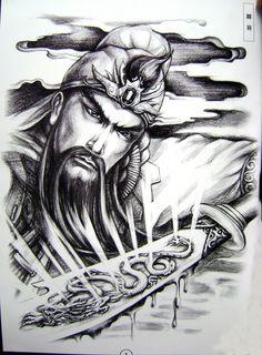 Guan Yu Guan Gong god of war deity warrior big tempoary girl tattoos p Full Tattoo, Full Back Tattoos, Sister Tattoos, Girl Tattoos, Tribal Tattoos, Angel Tattoo Designs, Flower Tattoo Designs, Tattoo Studio, Body Art Tattoos