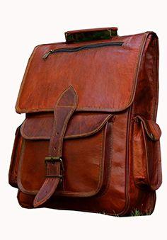 30c972455a5e Amazing offer on HLC Vintage Bag Leather Handmade Vintage Style Backpack College  Bag Picnic Bag online. Allfashiondress