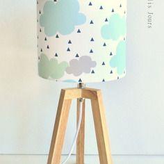 #new #lampe trepied en bois cloud, abat-jour en coton imprime