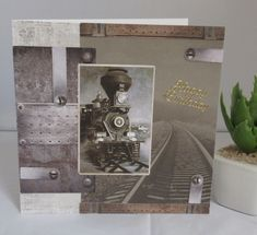 With lots of love handmade birthday card for men Size 15 cm x 15 cm Decouple paper in shades of grey with motif old steam locomotive and suitably decorated. Lettering with Happy Birthday Card is sent with insert and envelope in a cellophane sleeve Birthday Cards For Men, Handmade Birthday Cards, Steam Locomotive, Manners, Etsy, Lettering, Frame, Decor, Worth It
