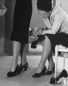 Shoe shopping at Neiman Marcus department store, Dallas, TX . Photo by Nina Leen, June 1945