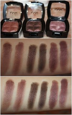 NYX eyeshadows in Beauty Queen, Sensual, Red Bean Pie. These are the perfect colors for blue and green eyes.
