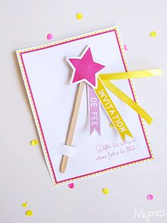 Fairy birthday invitation to print with a magic wand! First Birthday Theme Girl, Girl Birthday Cards, Fairy Birthday Party, First Birthday Gifts, First Birthdays, Birthday Kids, Birthday Woman, Invitation Fete, Diy Invitations