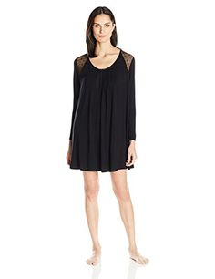 Midnight by Carole Hochman Womens Sleepshirt with Lace Inset Black Small *** You can find out more details at the link of the image. (This is an affiliate link and I receive a commission for the sales)