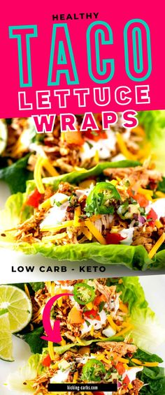 Anytime I can satisfy my cravings for tacos in a way that doesn't involve a lot of carbs I am ecstatic. Low Carb Healthy Taco Lettuce Wraps is one of my go-to dinners. I prepare the Chicken Tinga filling as part of my weekly meal prep, which makes this keto dish an easy weeknight meal. Low Carb Chicken Recipes, Keto Chicken, Beef Recipes, Lunch Recipes, Easy Dinner Recipes, Taco Side Dishes, Diabetic Recipes, Healthy Recipes, Taco Lettuce Wraps