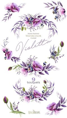 The Watercolor violet set of 9 high quality hand painted watercolor floral bouquets. Perfect graphic for wedding invitations, greeting cards, photos, posters, quotes and more. Item details: 9 PNG files (300 dpi, RGB, transparent background) 9 bouquets size (larger side) aprox.: 17 in,
