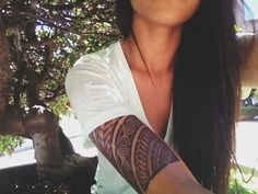 Polynesian Half Sleeve Tattoo for Women. Inspiration for the idea I have forming in my mind for my own.
