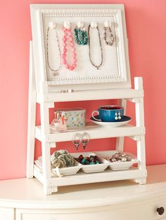 21 Useful DIY Jewelry Holders.  I've seen most of these before but I love the mini shelves in the photo!  ...