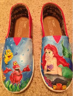 Disney Gifts for Teen Girls: SPLURGE on The Little Mermaid Hand Painted TOMS Shoes by Geppettos Shoes @ Etsy