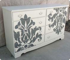Shabby Take on the Damask Dresser from Twice Lovely