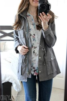 Chaplin Hooded Anorak Cargo Jacket from Market & Spruce - May 2015 Stitch Fix Review #stitchfix #fashion.  Love this grey jacket