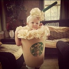 Check out these 15 cutest Halloween Costumes for kids. Babies and toddlers rock all kinds of Halloween Costumes, from cute to creepy. You can either make them at home or buy ready made from stores. Diy Halloween, Homemade Halloween Costumes, Holidays Halloween, Halloween Costumes For Kids, Happy Halloween, Halloween Clothes, Toddler Halloween, Starbucks Costume, Starbucks Halloween