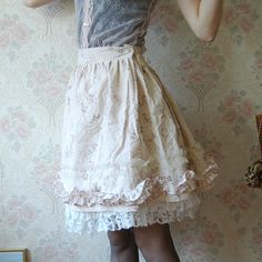 Pale pink cream mori girl lolita skirt with tulle ruffles