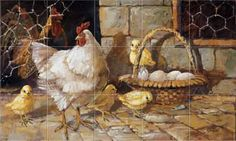 Chickens - Roosters - Farm - Family Feathers Kitchen Backsplash Tile Murals Accent Tiles