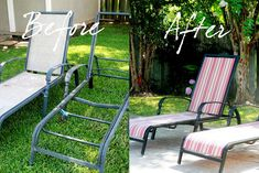 learn how to recover your old chaise lounge chairs instead of throwing them out. Quick, inexpensive solution instead of buying brand new chairs. Metal Patio Chairs, Pool Lounge Chairs, Outdoor Chairs, Outdoor Decor, Outdoor Living, Outdoor Projects, Outdoor Spaces, Lawn Chairs, Diy Projects