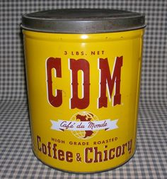 Vintage advertising CDM CAFE DU MONDE Chicory COFFEE TIN 3 lb. can NEW ORLEANS