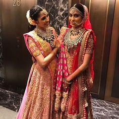 "Abu Jani Sandeep Khosla on Instagram: ""Shloka Mehta and Diya Mehta look spectacular in Abu Jani Sandeep Khosla.  #abujanisandeepkhosla  #ajskbride #abujani #sandeepkhosla…"""