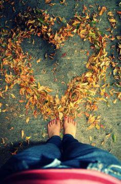 Autumn Love - leaves heart