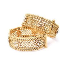Ethnic Bollywood Indian Matte Gold Plated Openable Filigree Bangle Set in Pearls $37.50 Click Link for Discount