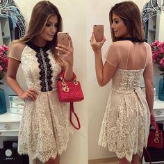 """""""{Lady Like} Vestido @luziafazzolli Um toque de vermelho no preto e branco! ❤️ •…"""