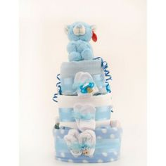 3 Tier Standard Nappy Cake - Blue | Baby Gifts  Baskets. #Shower gift, #baby ideas, #shower cake. http://www.heritagehampers.com/gift-types/baby-gifts-nappy-cakes/3-tier-standard-nappy-cake---blue---baby-gifts