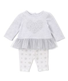 Loving this Gray Heart Peplum Top & Floral Leggings - Infant on #zulily! #zulilyfinds