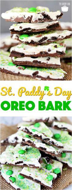 St. Patrick's Day No-Bake Oreo Bark recipe from The Country Cook #desserts #nobake #easy #recipes #ideas #StPatricksDay #kidfriendly #Oreso