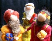 The three wise men, Magi, Needle felted Nativity Set, Waldorf inspired, Bethlehem, Kings of the east - Ready to Ship-
