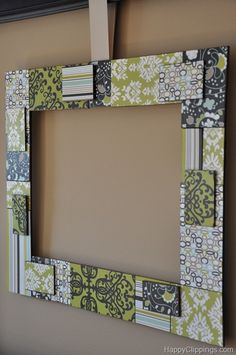 Patchwork wood frame project. Again with scrapbook paper. Really cute :)