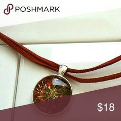 """NEW Hand-painted glass necklace 1"""" Round glass gem painted in red,black & gold on double red leather w lobster clasp EyeKandy Creations Jewelry Necklaces"""