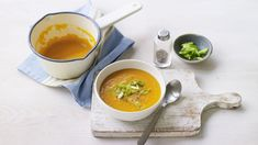 Carrot and ginger soup recipe - BBC Food Ginger Soup Recipe, Carrot Ginger Soup, Lunch Box Recipes, Diet Recipes, Healthy Recipes, Soup Recipes, Cooking Recipes, Low Calorie Lunches, Vegan Lunch Box