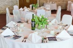 Wedding Table Numbers on Wine Bottle with Chalk