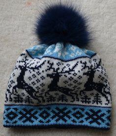 NORWEGIAN Scandinavian Hand Crafted 100% wool HAT and MITTENS Fur Pom Pom, Sheep Wool, Warm And Cozy, Mittens, Reindeer, Norway, Folk Art, Scandinavian, The 100