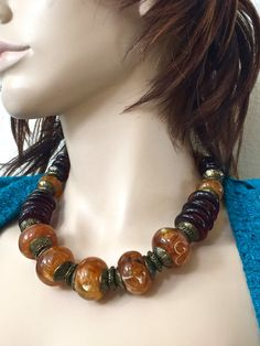 Art Deco Statement Necklace-Amber. by mytimevintage on Etsy