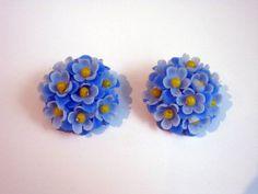 Blue Earrings Flowers Blue  Vintage Earring by greenleafvintage1, $9.99