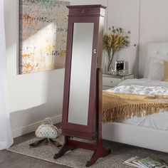 Shop for Baxton Studio Bimini Brown Finished Free Standing Full Length Cheval Mirror Jewelry Armoire. Get free delivery at Overstock - Your Online Furniture Store! Get in rewards with Club O! Online Furniture Stores, Furniture Sale, Full Length Mirror Stand, Wood Crown Molding, Wall Mounted Jewelry Armoire, Cheval Mirror, Mirror Cabinets, Baxton Studio, Mirrors