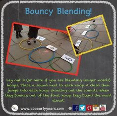 Lay out one hoop per sound, in a 'column'. Then place the right sound card next to each one. As a child jumps in the hoops they say each sound in order and then orally blend it as they jump out of the last one! - Life and hacks Eyfs Activities, Kindergarten Literacy, Phonics Reading, Teaching Phonics, Phonics Games Year 1, Read Write Inc Phonics, Preschool Phonics, Phonics Rules, Early Childhood Education