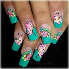 - FindWhatYouNeed Butterfly Nail Designs, Butterfly Nail Art, Cute Nail Art Designs, Flower Nail Art, Gel Nail Designs, Fingernails Painted, Nail Polish Art, Nailed It, Trendy Nail Art