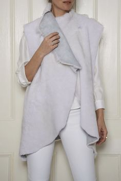 Sleeveless Shearling Jacket: White