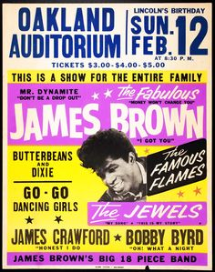 Vintage Music Art Poster - James Brown at the Oakland Auditorium 0208 All our prints are printed on Photosatin paper with Epson Epson UltraChrome inks with Vivid Magenta technology for long-lasting quality – high lightfastness Sheet size: 420 x x Tour Posters, Band Posters, Music Posters, Event Posters, Vintage Concert Posters, Vintage Posters, Vintage Signs, Vintage Prints, Rock N Roll