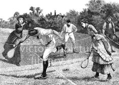 Tennis. Victorian illustration of two couples energetically playing tennis on a large lawn, watched by a gardener. The men wear breeches and shirts, the women long frilled and pleated dresses. Download high quality jpeg for just £5. Perfect for framing, logos, letterheads, and greetings cards.