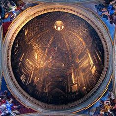 """Dome at Sant'Ignazio (1685) ~ Perspective theories in the 17th-century allowed a more fully integrated approach to architectural illusion, which when used by painters to """"open up"""" the space of a wall or ceiling is known as quadratura. Examples include Pietro da Cortona's Allegory of Divine Providence in the Palazzo Barberini and Andrea Pozzo's Apotheosis of St Ignatius on the ceiling of the Roman church of Sant'Ignazio."""