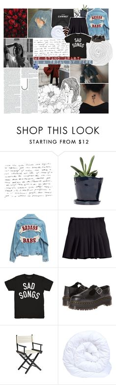 """☾ secrets don't make friends"" by thundxrstorms ❤ liked on Polyvore featuring Dot & Bo, Chanel, H&M, Stay Home Club, Dr. Martens, Pier 1 Imports and The Fine Bedding Company"