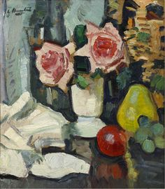 GEORGE LESLIE HUNTER Still Life with Roses Oil on board