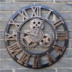 Handmade 3D retro rustic big gear wooden vintage large wall clock 20 inches