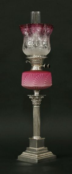 A Victorian silver-plated Corinthian carved oil lamp, : Lot 338