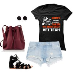 Sorry this girl is already taken by a smart & sexy vet tech by teedino on Polyvore featuring Zara, Sophie Hulme, Oasis, outfit, tshirts, Tshirt and womenoutfit