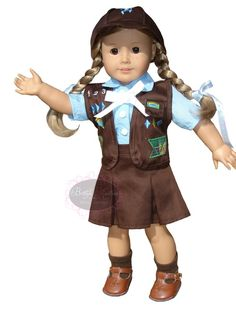 """Current Brownie Girl Scout Uniform for an """"American Girl"""" (18 inch) doll."""