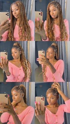 #braids #knotlessboxbraids #knotless #braidedhairstyles #braidstyles Watch tutorial here👇🏾 Cute Box Braids Hairstyles, Box Braids Hairstyles For Black Women, Braids Hairstyles Pictures, Black Girl Braids, African Braids Hairstyles, Braids For Black Hair, Girls Braids, Girl Hairstyles, Red Box Braids
